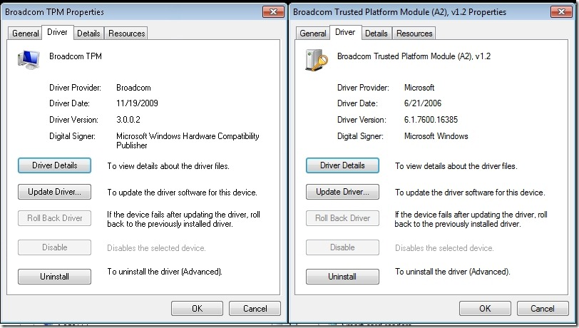 Broadcom drivers not allowing Windows to mange the TPM chip